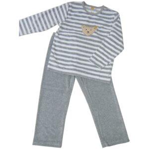Steiff Nicki Schlafanzug Pyjama Teddykopf grau