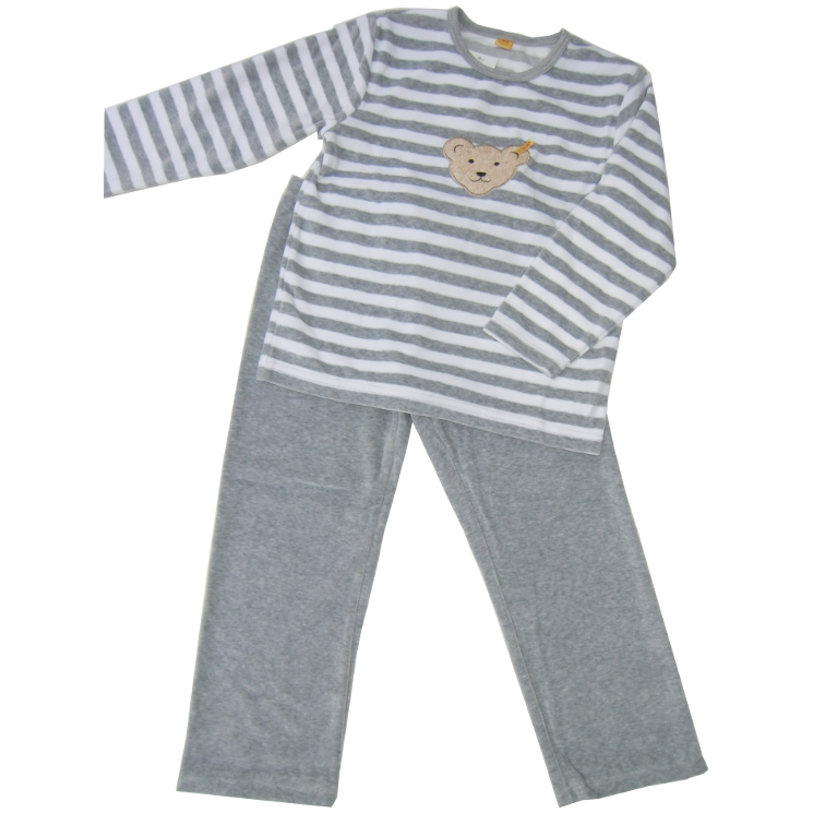 steiff nicki schlafanzug pyjama teddykopf grau meliert. Black Bedroom Furniture Sets. Home Design Ideas