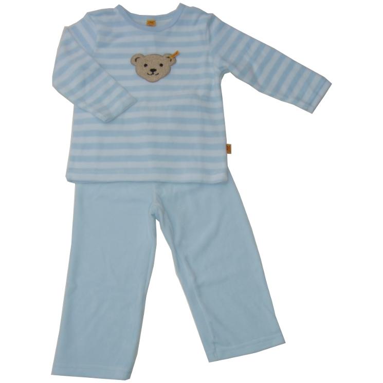 steiff nicki schlafanzug pyjama teddykopf hellblau. Black Bedroom Furniture Sets. Home Design Ideas