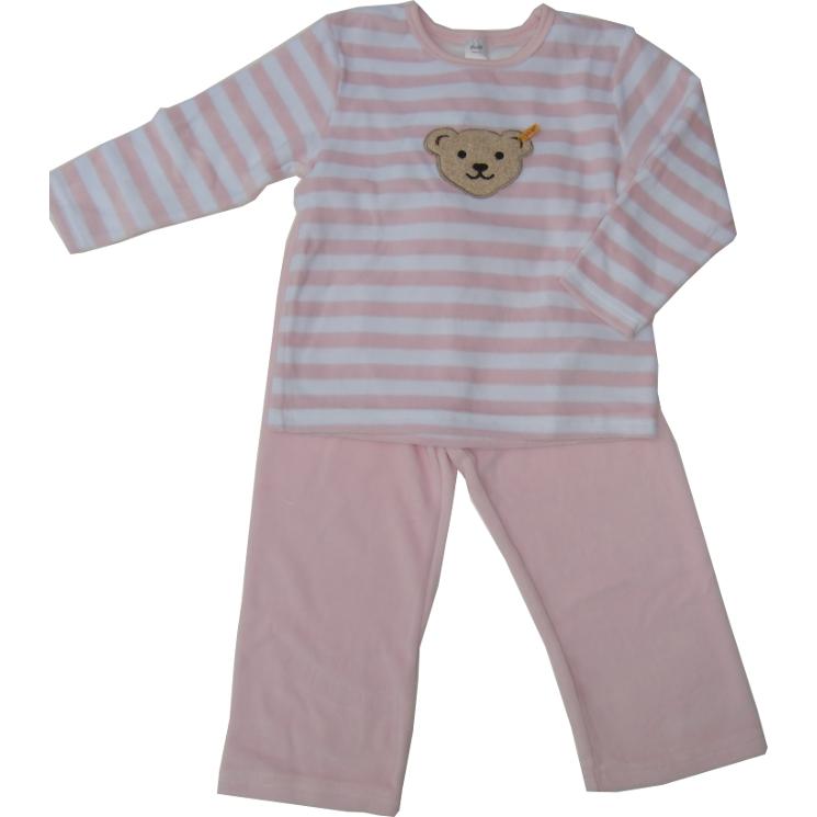 steiff nicki schlafanzug pyjama teddykopf rosa. Black Bedroom Furniture Sets. Home Design Ideas