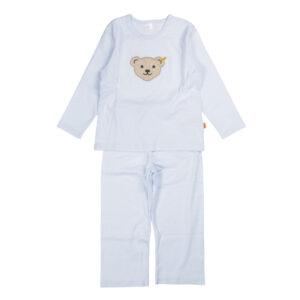 Steiff Ringel Jersey Schlafanzug hellblau