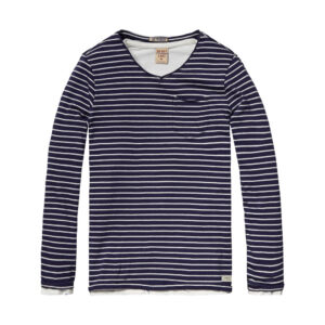 Scotch & Soda Langarmshirt marine weiß gestreift boys