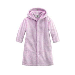 Bademantel Mit Knoepfen weiß rosa geringelt